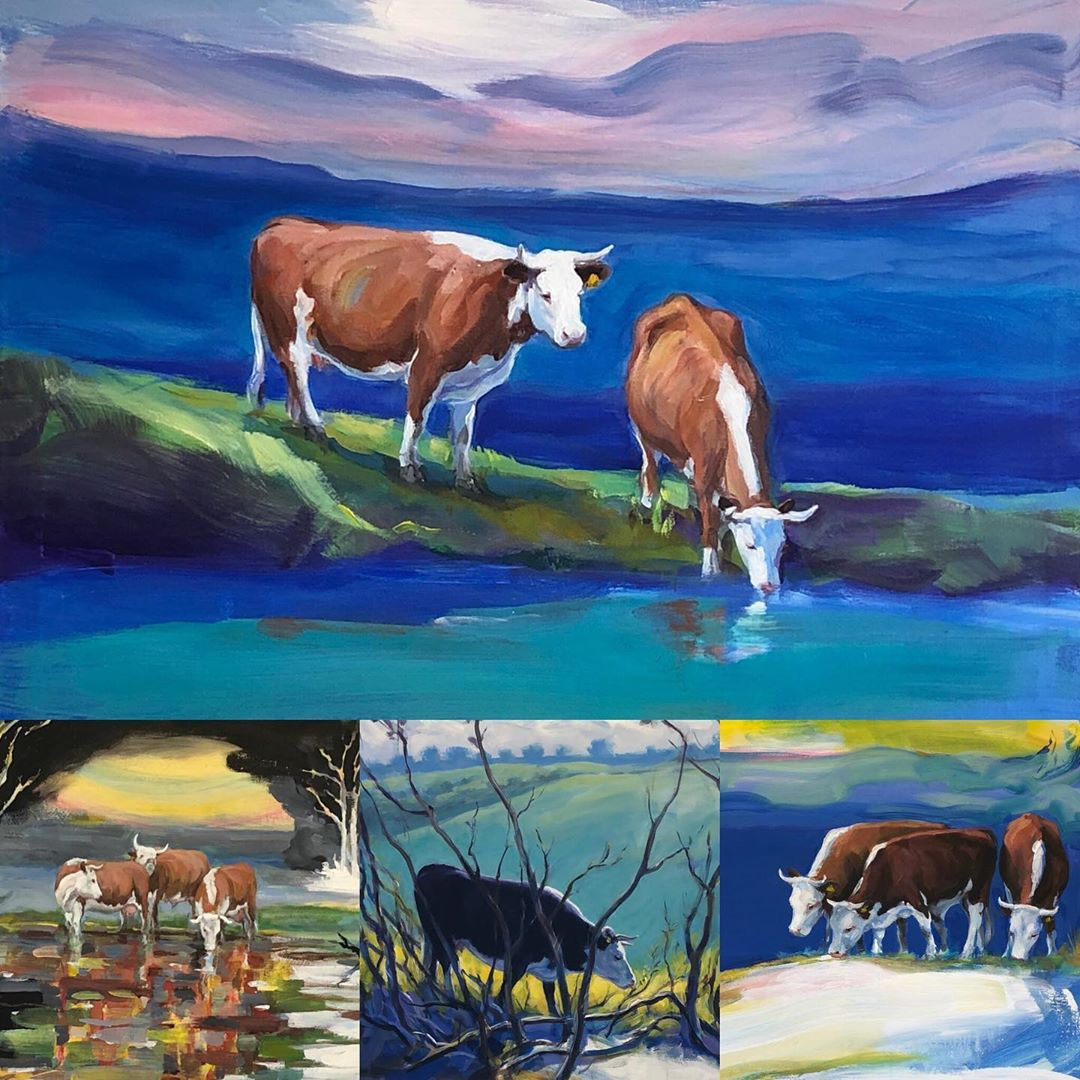 Væggene på vores #kolding kontor er fyldt med glade farver, natur og græssende kvæg🐄🙂 Vi har for tiden en maleriudstilling af kunstner Govert Lund, der har hentet inspiration i et naturskønt område i Lynge, Nordsjælland. Govert Lund har en fortid på Kolding Kunsthåndværkerskole🎨 #designskolenkolding #cows #danishart #govertlund #c2it #LivetErForKortTil kedelige arbejdspladser